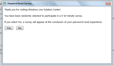 Password reset survey استفتاء هوتميل