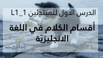 Photo of أقسام الكلام في اللغة الانجليزية (L1-1)